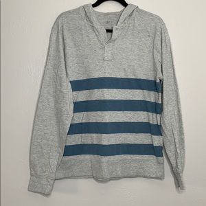 Gap lightweight stripe hooded Henley grey blue L